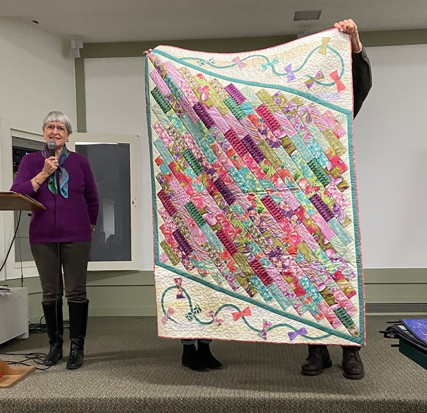 Jackie Borszich showed us an original design that she created from a $5.00 CCQG Auction purchase.