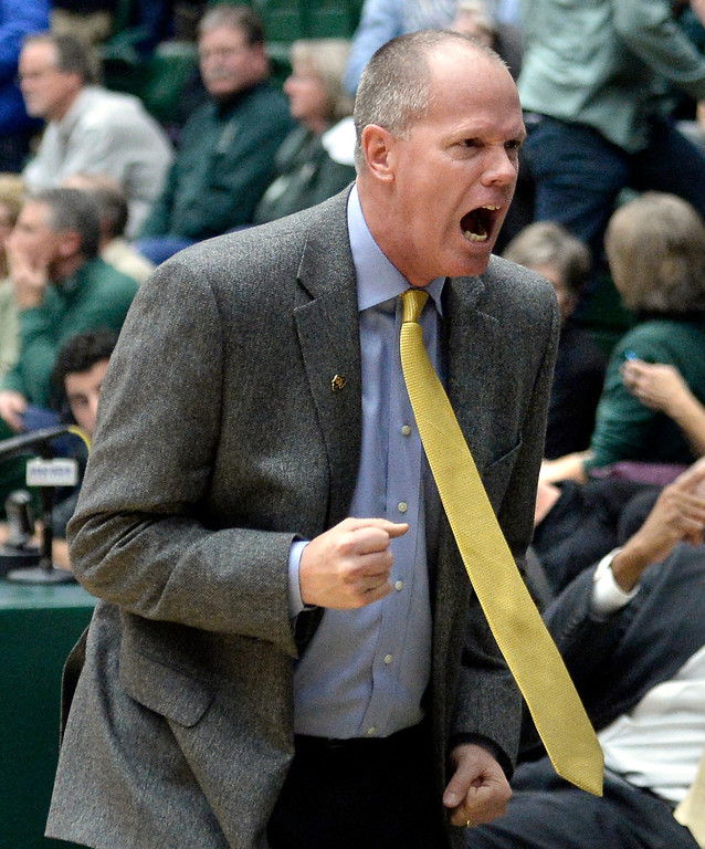 . University of Colorado head coach Tad Boyle reacts after defeating Colorado State University 67-62 during an NCAA game on Tuesday, Dec. 3, 2013, at the Moby Arena in Fort Collins. Jeremy Papasso/ Camera