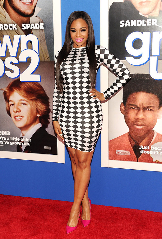 """. Actress and singer Ashanti Douglas attends the premiere of \""""Grown Ups 2\"""" at the AMC Loews Lincoln Square on Wednesday, July 10, 2013 in New York. (Photo by Evan Agostini/Invision/AP)"""