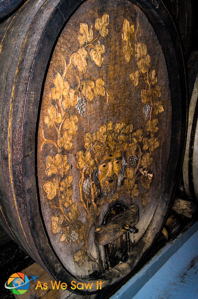 engraved wine barrell