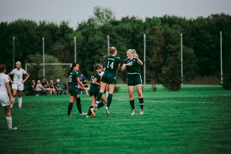Holy Family Girls Varsity Soccer vs. Glencoe-Silver Lake, 9/24/19: Maeve Kelly '22 (14) & Caitlin Rock '20 (12)