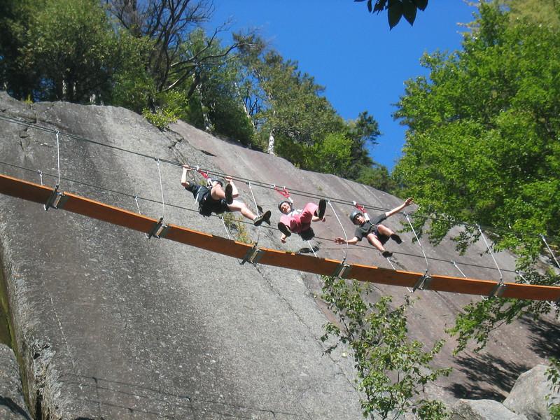 Hanging Out. First Suspended Bridge. Via ferrata du Diable, park national du Mont-Tremblant