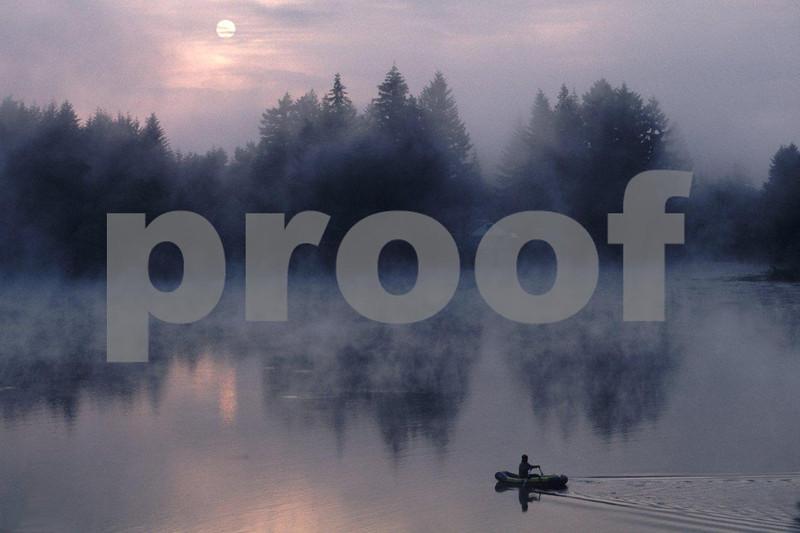 Trout fishing in Pattison Lake, Lacey, Washington State.