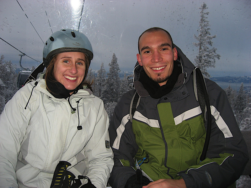 Katy and Matt on the gondola back down after a great day of skiing
