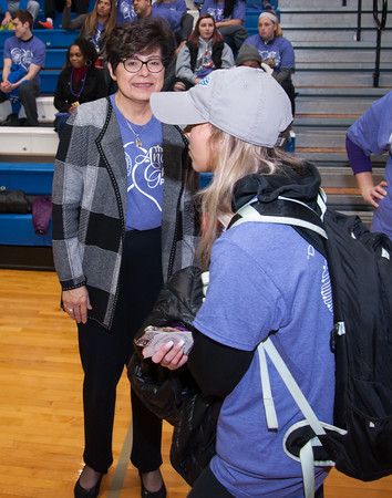 04/03/18 Wesley Bunnell | Staff CCSU President Dr. Zulma Toro greets students as they enter the gymnasium on Wednesday April 3 for the Ana Grace Project celebrating the birthday of Ana Grace Marquez-Greene who was one of the children killed in the tragic Sandy Hook school shooting