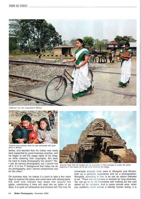 "Interview page in ""Better Photography"" Nov'05 issue which is ""By far India and South Asia's largest selling photography magazine"" under ""Tour de Force"".
