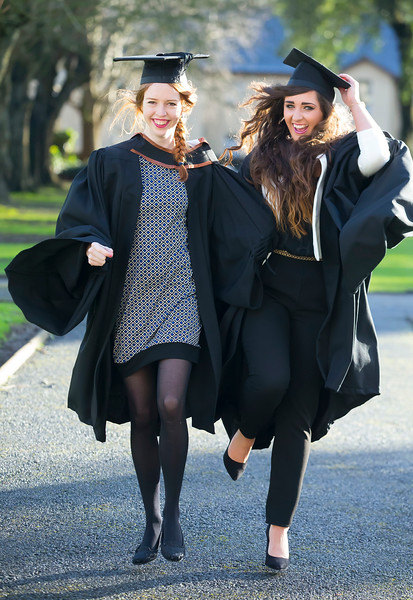 06/01/2015. FREE TO USE IMAGE. WIT (Waterford Institute of Technology) Conferring, Pictured are Deirdre Hahessy, Clonmel, Co. Tipperary and Rachel O'Gorman, Portailington, Co. Laois who graduated BA (Hons) in Design. Picture: Patrick Browne