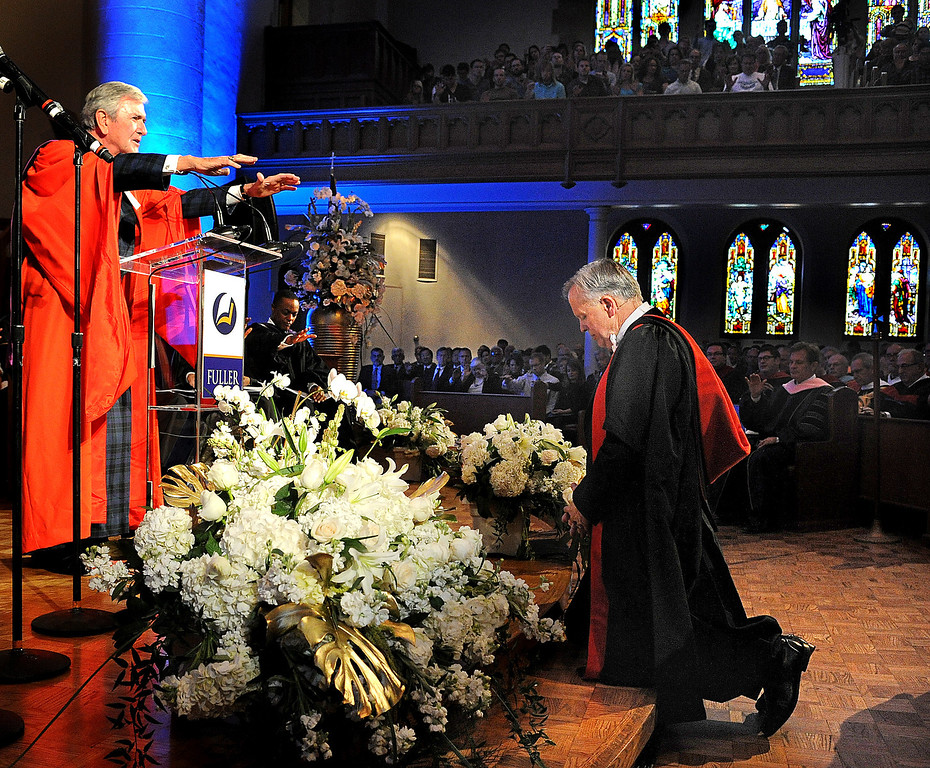 . Lloyd John Ogilvie, left, Anointing and Laying on Hands with Prayer on the new President Mark Labberton. Fuller Theological Seminary celebrated the inauguration of its Fifth President, Mark Labberton, on Wednesday at First United Methodist Church in Pasadena Wednesday, November 6, 2013.(Photo by Walt Mancini/Pasadena Star-News)
