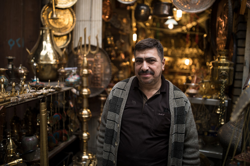 Shop owner at Souk al-Safafeer in Central Baghdad.