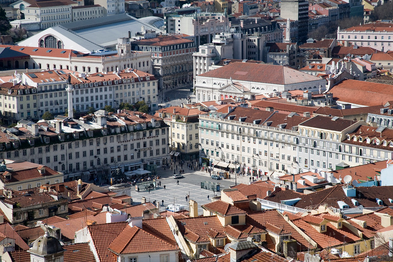 View of Figueira square and Baixa from Saint George Castle, Lisbon.