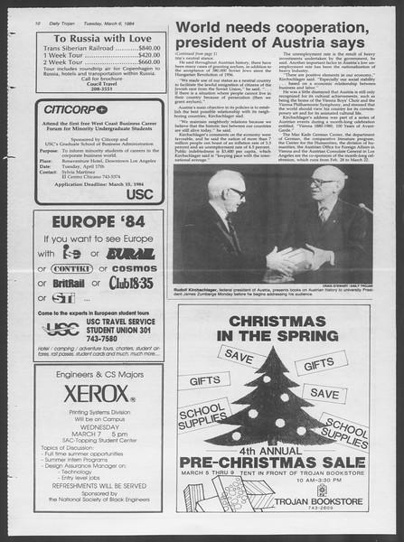 Daily Trojan, Vol. 95, No. 39, March 06, 1984