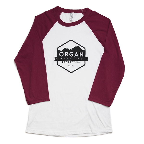 Organ Mountain Outfitters - Outdoor Apparel - T-Shirt - Baseball Tee - Maroon White.jpg