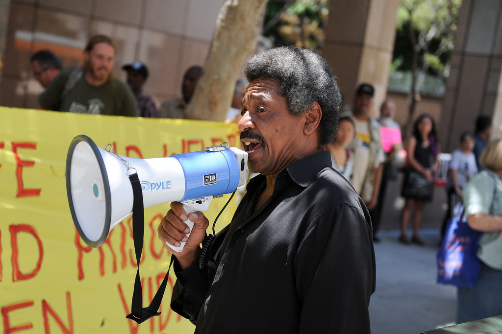 . Bilal Ali, an organizer with the Prison Hunger Strike Solidarity Coalition, speaks outside the Ronald Reagan State Building in downtown L.A. Monday, July 8, 2013, about the upcoming hunger strike by prisoners to protest solitary confinement in California prisons. (Michael Owen Baker/L.A. Daily News)