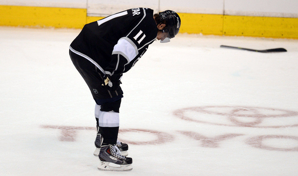 . The Kings� Anze Kopitar #11 hangs his head after time expires in  Game 6 of the Western Conference finals at the Staples Center on Friday, May 30, 2014. The Blackhawks beat the Kings 4-3. (Photo by Hans Gutknecht/Los Angeles Daily News)