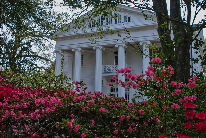 Front of Oak Hill with azaleas