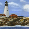Portland Headlight - Oil On Canvas Painting