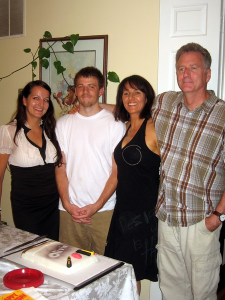 Olivia with her parents and brother.