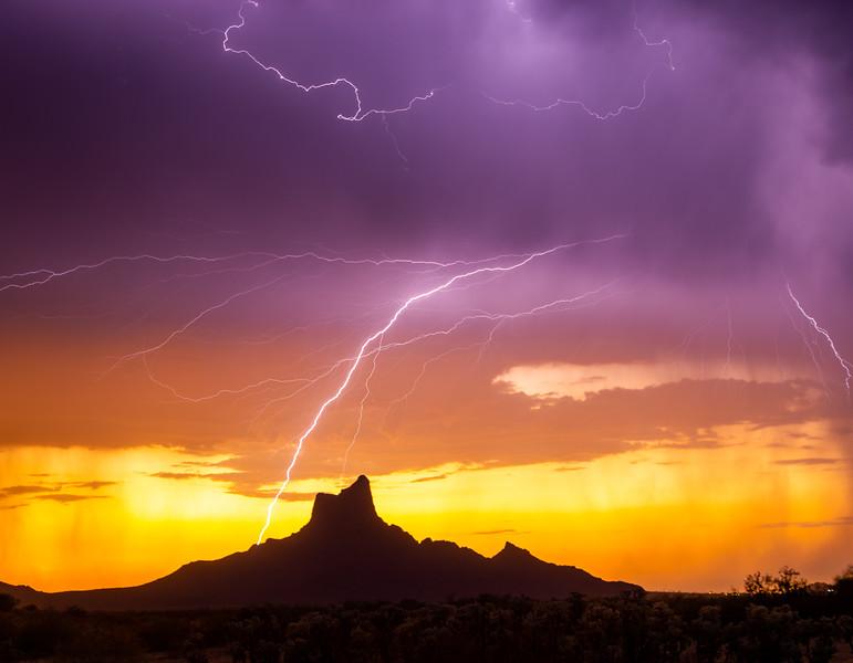 Lightning and Sunset at Picacho Peak