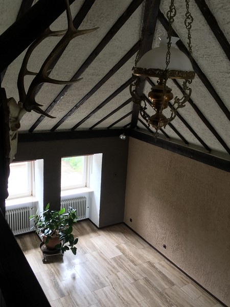 Looking down from the loft into the Grand room.
