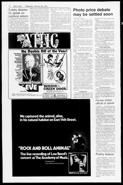 Daily Trojan, Vol. 66, No. 74, February 20, 1974