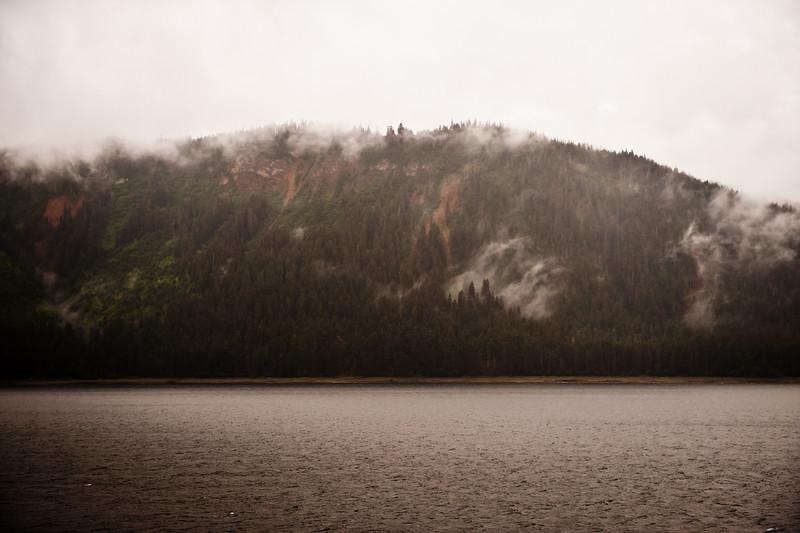 Fog on the banks, raining.