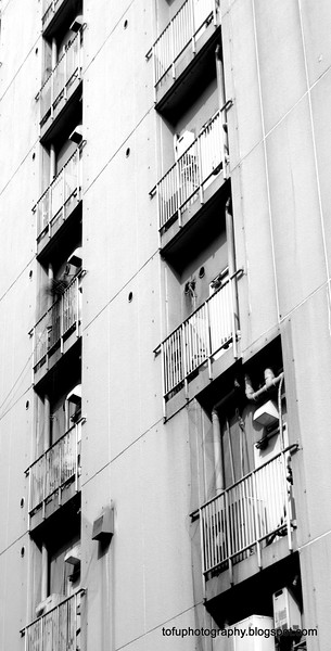 Apartment balconies in Osaka, Japan in March 2015