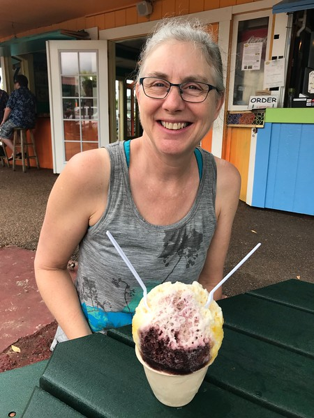 Shave ice treat to share after hiking the Kalalau Trail.