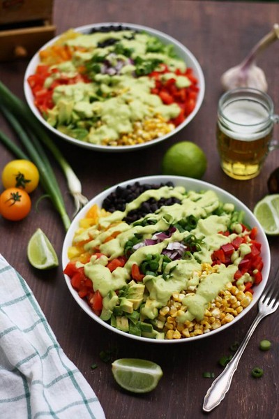 Mexican Chopped Salad with Avocado Dressing - Vegan Mexican Recipes