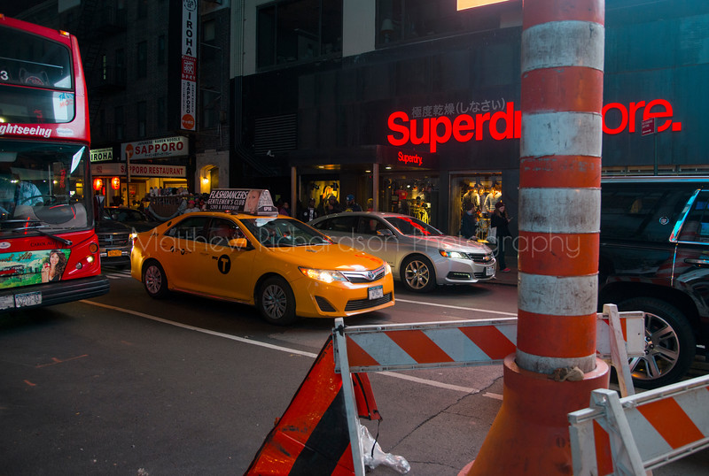 Yellow cab driving in New York City, USA