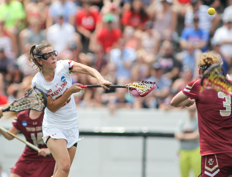May 26, 2019: Maryland midfielder Grace Griffin (22) scores a goal during NCAA Womens Lacrosse Championship matchup between Boston College and University of Maryland in Baltimore. Photos by Chris Thompkins/Prince Georges Sentinel