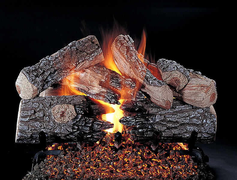 Evening Prestige Vented Gas Log set. Shown on FX Burner and Grate.