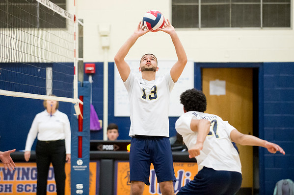 05/13/19 Wesley Bunnell | Staff Newington boys volleyball vs Westfield MA on Monday night at Newington High School. Leonel Caceres (13).