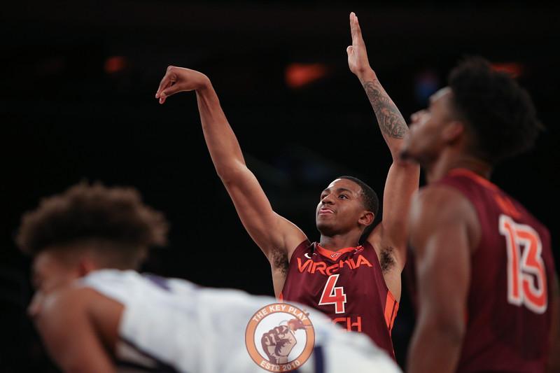 Virginia Tech's guard Nickeil Alexander-Walker (4) shoots against Washington in Madison Square Garden, Nov. 17, 2017. Virginia Tech won the game 103-79.