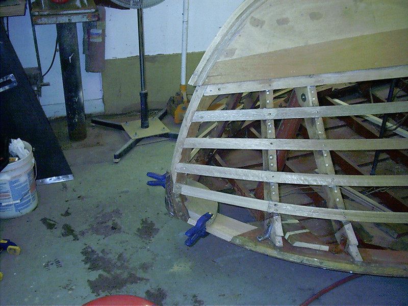 Starboard side frame ends replaced and a section of the shear plate replaced.