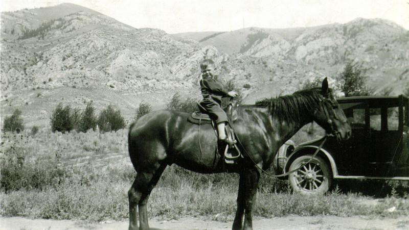 Wayne on Johnny, Moore, Idaho, circa 1925