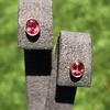 .79ctw Oval Padparadscha Sapphire Bezel Stud Earrings 7