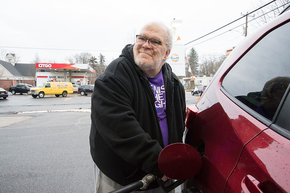 02/10/20 Wesley Bunnell | StaffrrCars lined up to take advantage of sub two dollar a gallon regular gas prices at the Gulf and CITGO Stations on Main St in the Terryville section of Plymouth. Bob Devito from Waterbury stoped at the Gulf station to fill up.
