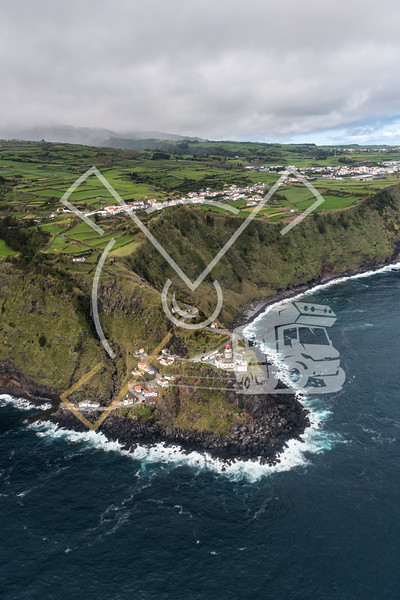 aerial landscape from the Farol do Arnel lighthouse on the eastcoast of São Miguel island near Nordeste village