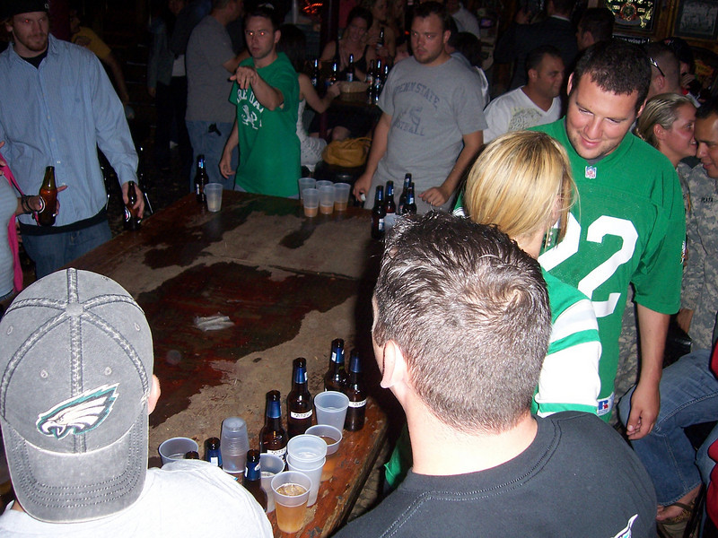 To the next fine establishment, where there was a rousing game of beer pong!
