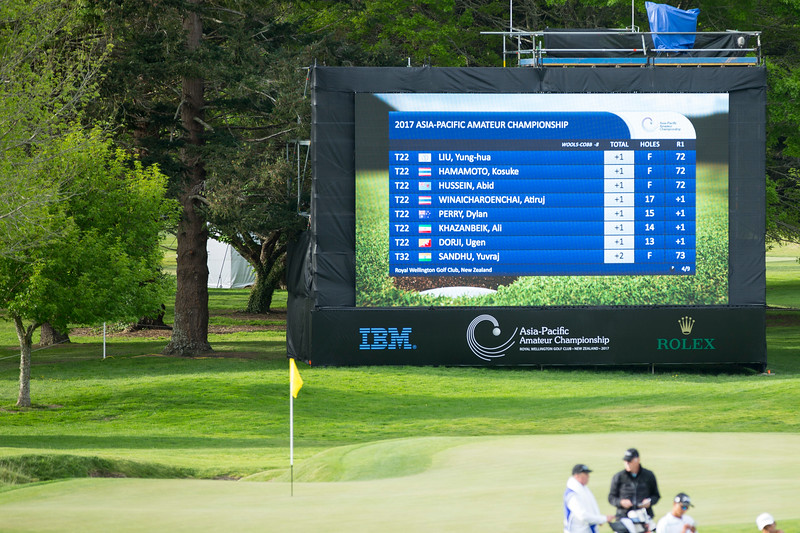 Leaderboard (page 4) at 6.00pm on the 1st day of competition in the Asia-Pacific Amateur Championship tournament 2017 held at Royal Wellington Golf Club, in Heretaunga, Upper Hutt, New Zealand from 26 - 29 October 2017. Copyright John Mathews 2017.   www.megasportmedia.co.nz