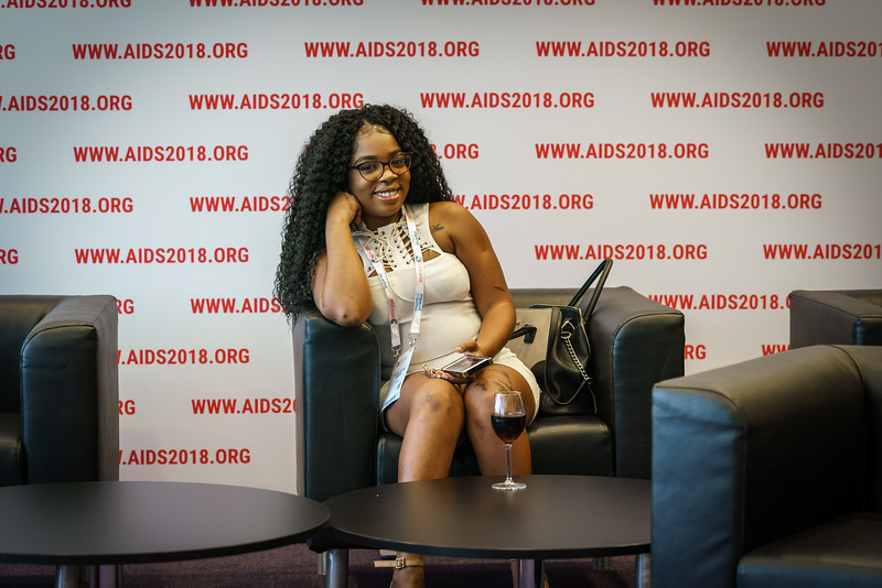 22nd International AIDS Conference (AIDS 2018) Amsterdam, Netherlands.   Copyright: Matthijs Immink/IAS  PRESS CONFERENCE Sex Workers & End Demand Policies  On the photo:  O'Cindy Cynthia Samuels