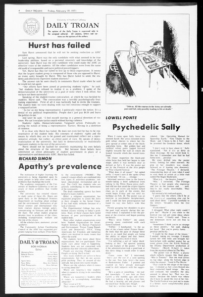 Daily Trojan, Vol. 62, No. 72, February 19, 1971