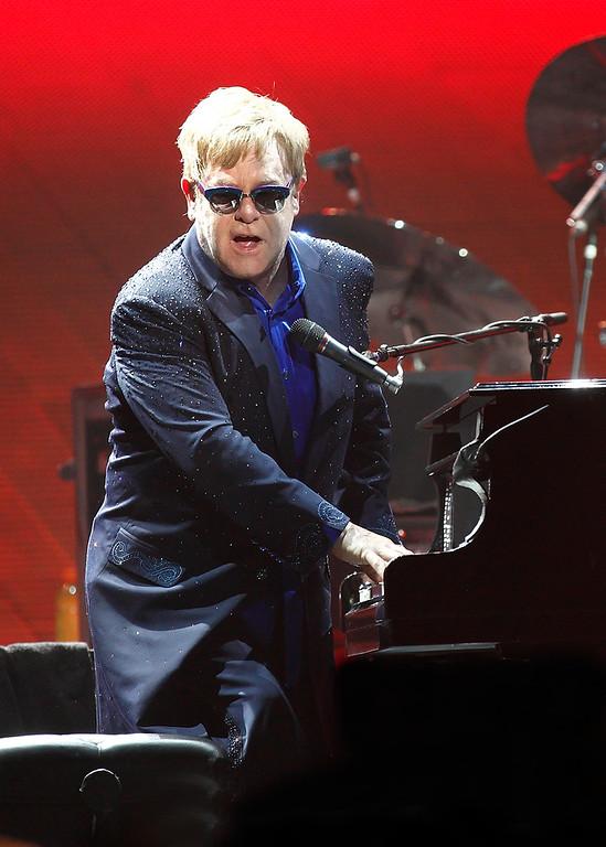 . Elton John at Joe Louis Arena on Friday night. Photo by Ken Settle