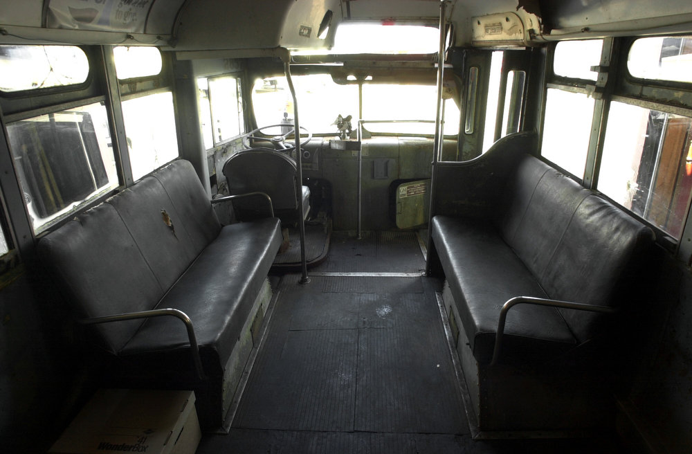 . The interior of the 1948 General Motors bus on which Rosa Parks supposedly refused to give up her seat in 1955, is shown at the Henry Ford Museum & Greenfield Village in Dearborn, Mich., Thursday, Nov. 15, 2001. The museum took possession of the bus Thursday after acquiring it through an Internet auction for $492,000 in October. (AP Photo/Paul Sancya)