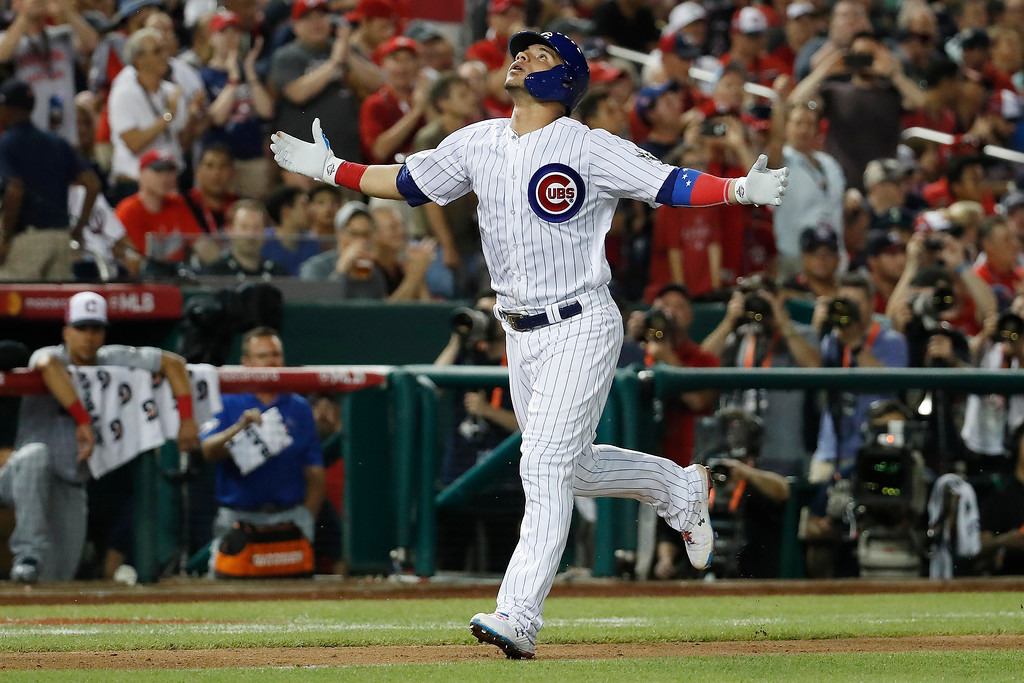 . Chicago Cubs catcher Willson Contreras (40) celebrates his third inning solo home run during the Major League Baseball All-star Game, Tuesday, July 17, 2018 in Washington. (AP Photo/Alex Brandon)