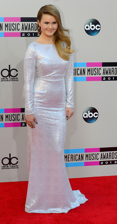 . Ashlee Keating arrives to the American Music Awards  at the Nokia Theatre in Los Angeles, California on Sunday November 24, 2013 (Photo by Andy Holzman / Los Angeles Daily News)