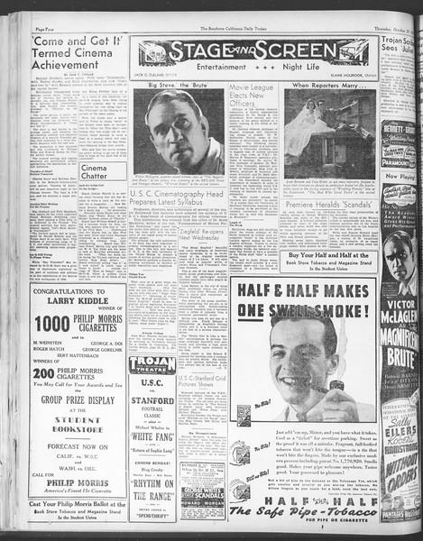 Daily Trojan, Vol. 28, No. 29, October 29, 1936