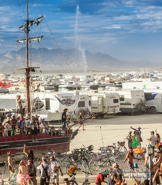 Just a giant ship spraying water on the playa!