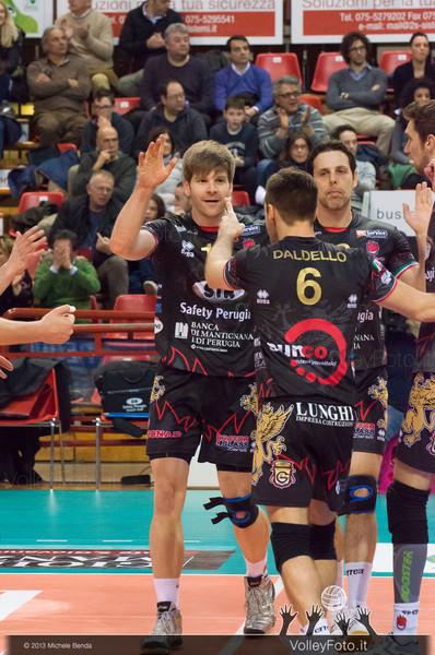 Schwarz Sebastian Daldello Nicola Vujevic Goran (Perugia) festeggiano un punto