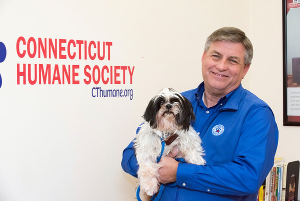03/10/20 Wesley Bunnell | Staff Executive Director James Bias has recently taken over duties at the CT Humane Society in Newington CT. Here James is shown with 11 year old Shih Tzu named Twister.